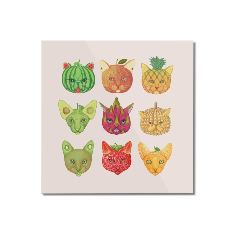 cat or fruit Home Mounted Acrylic Print by makapa's Artist Shop