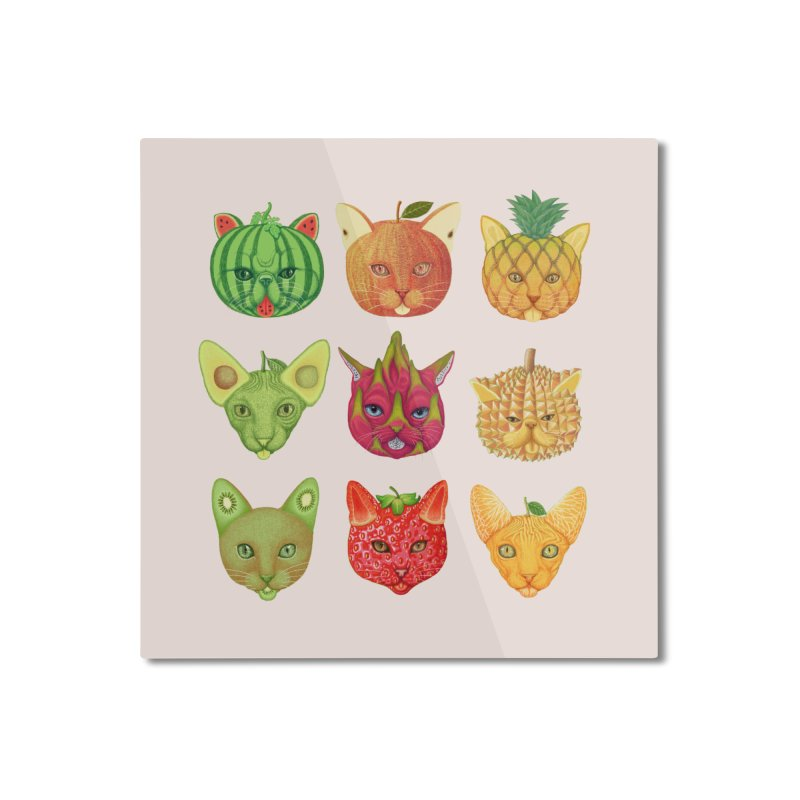 cat or fruit Home Mounted Aluminum Print by makapa's Artist Shop