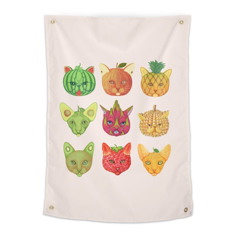 cat or fruit Home Tapestry by makapa's Artist Shop