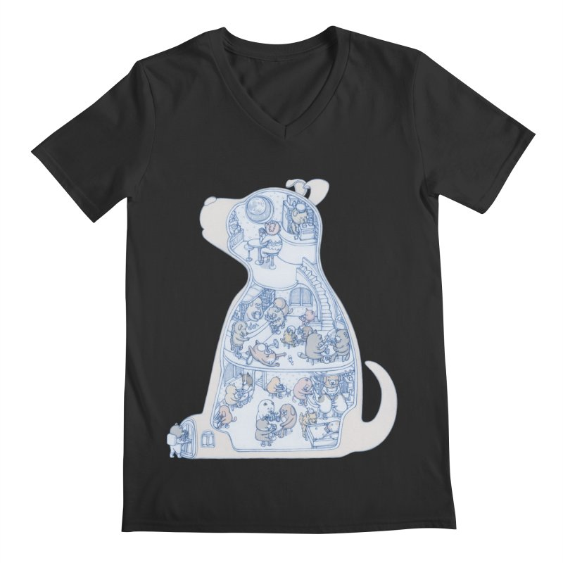 my dog and friends Men's V-Neck by makapa's Artist Shop