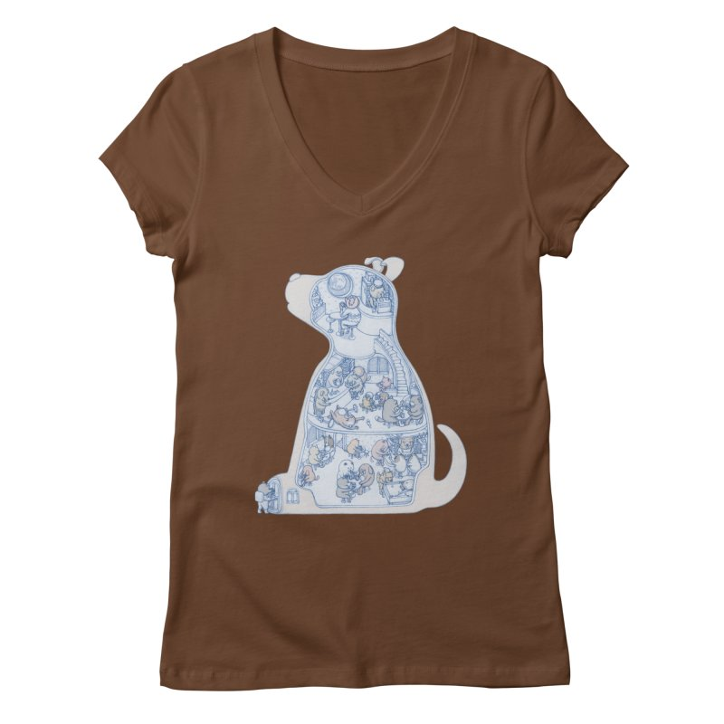 my dog and friends Women's V-Neck by makapa's Artist Shop