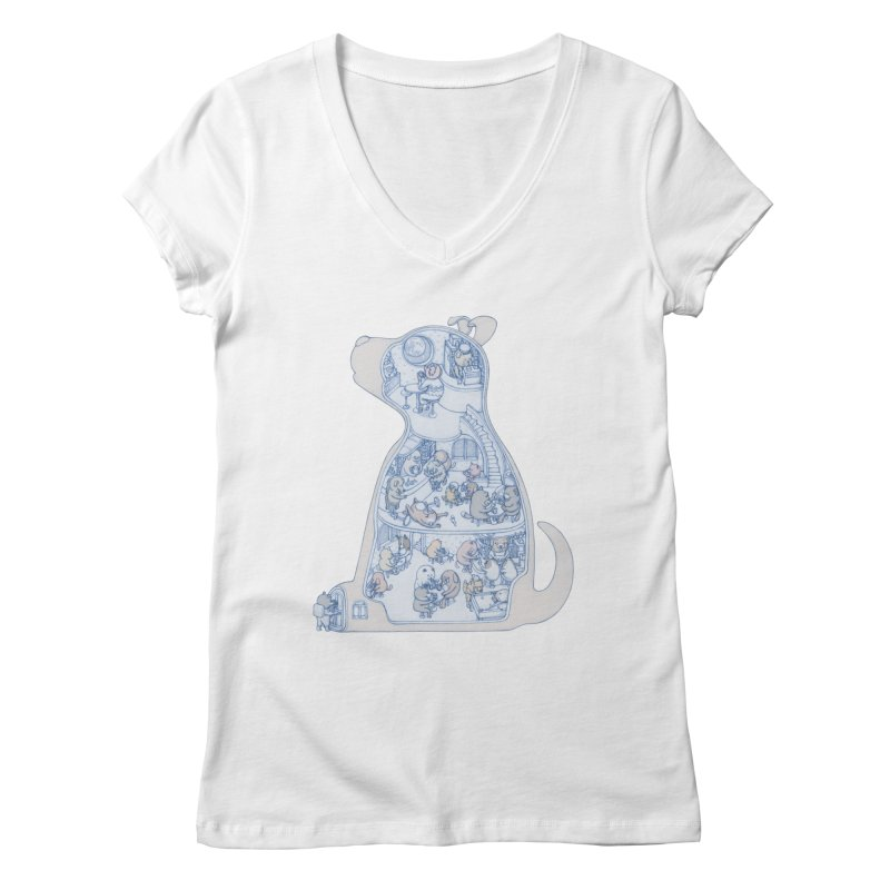 my dog and friends Women's Regular V-Neck by makapa's Artist Shop