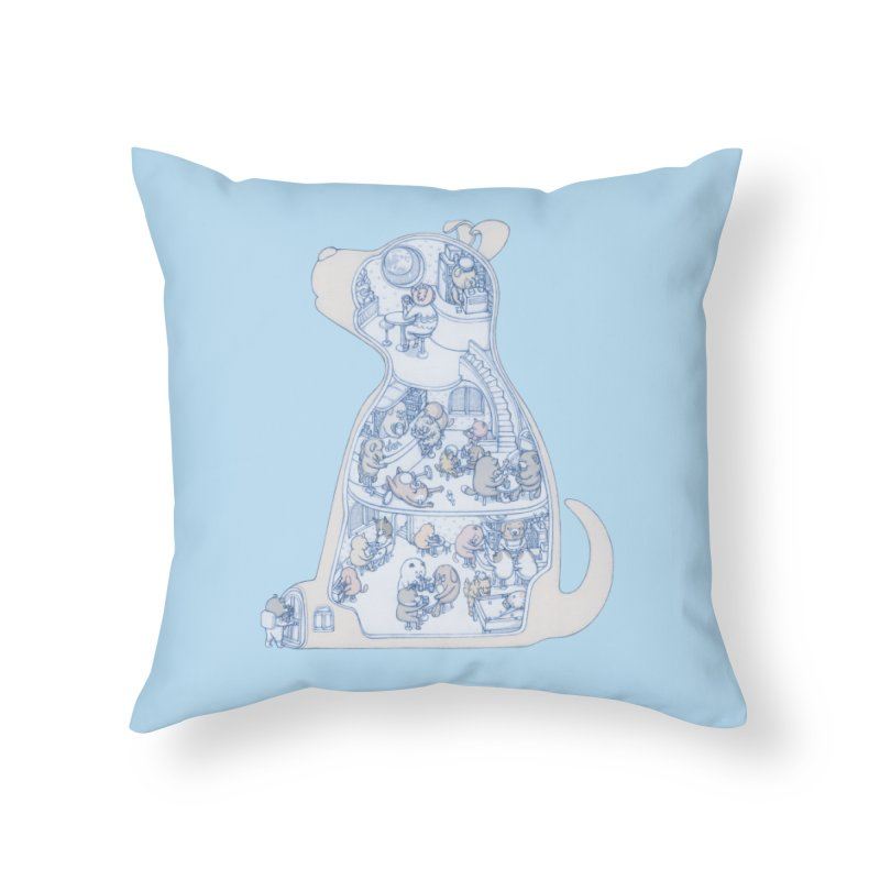 my dog and friends Home Throw Pillow by makapa's Artist Shop