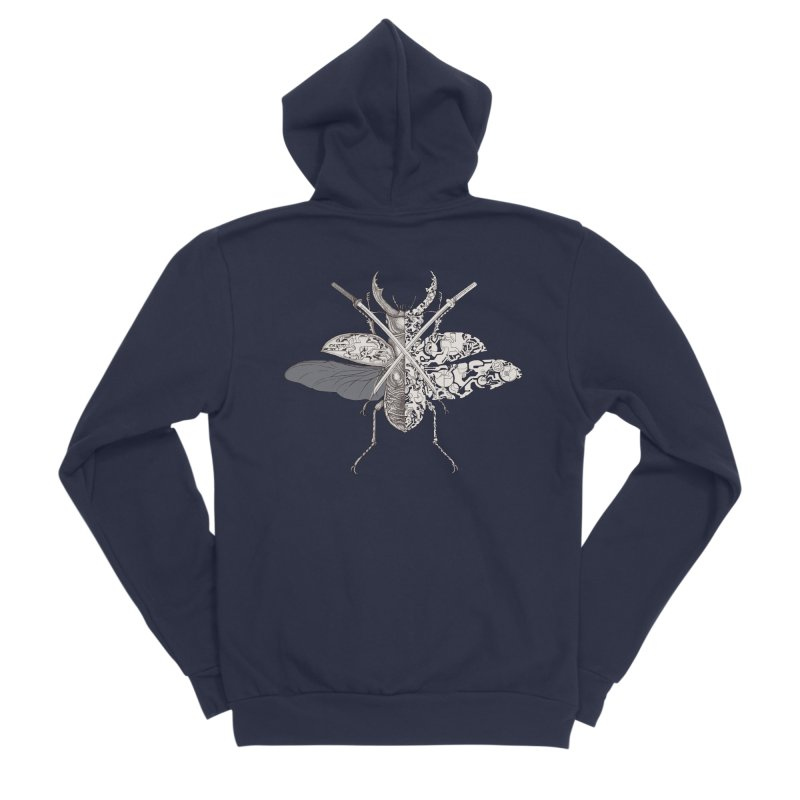 stag beetle samurai Women's Sponge Fleece Zip-Up Hoody by makapa's Artist Shop