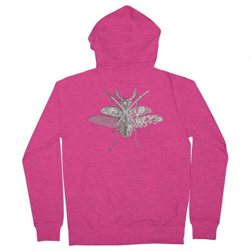 stag beetle samurai Women's French Terry Zip-Up Hoody by makapa's Artist Shop