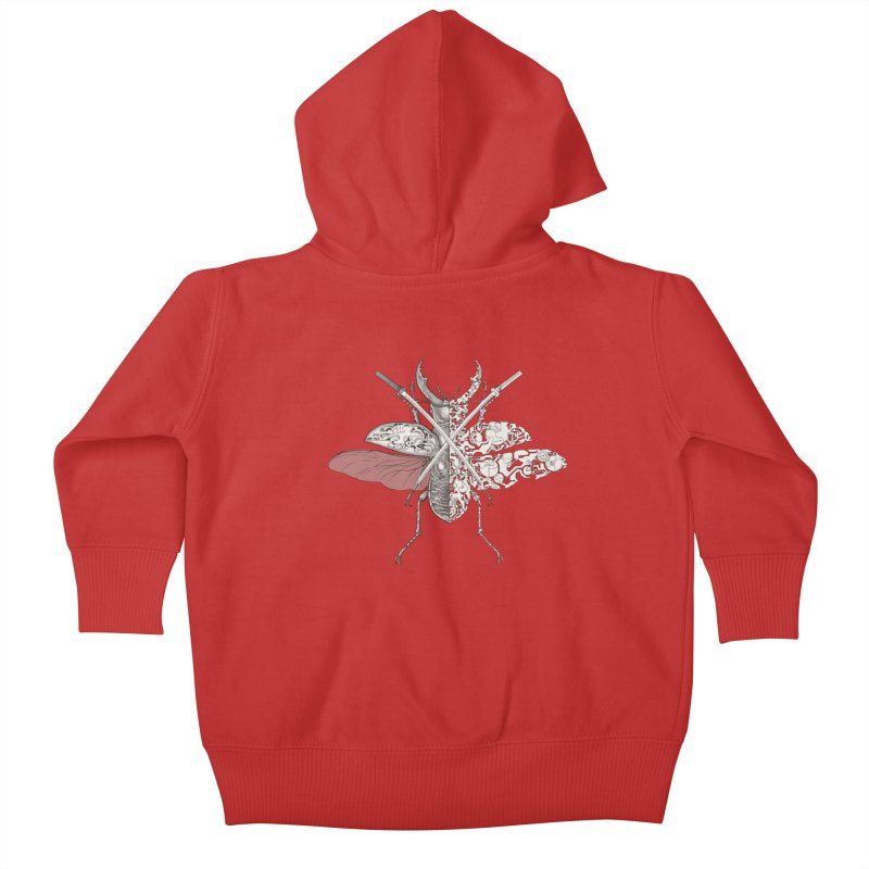 stag beetle samurai Kids Baby Zip-Up Hoody by makapa's Artist Shop