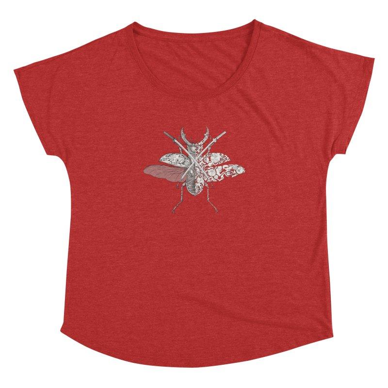 stag beetle samurai Women's Dolman Scoop Neck by makapa's Artist Shop