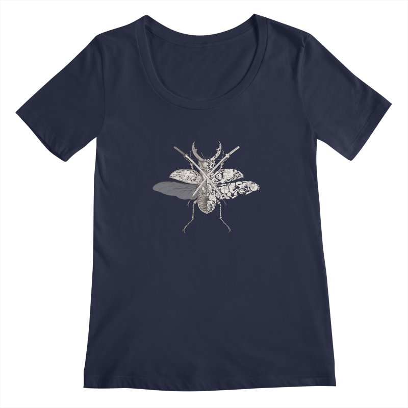 stag beetle samurai Women's Regular Scoop Neck by makapa's Artist Shop