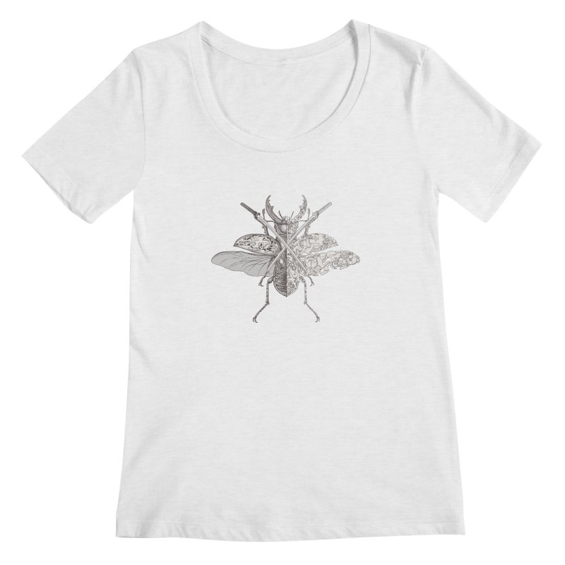 stag beetle samurai Women's Scoop Neck by makapa's Artist Shop