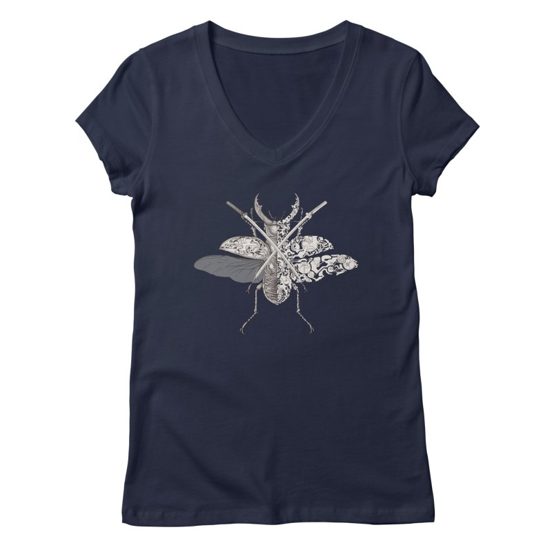 stag beetle samurai Women's V-Neck by makapa's Artist Shop