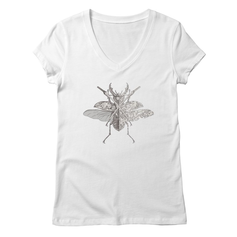 stag beetle samurai Women's V-Neck by makapa's Artist Shop