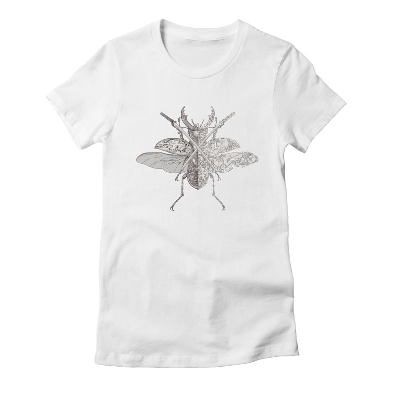 stag beetle samurai Women's Fitted T-Shirt by makapa's Artist Shop