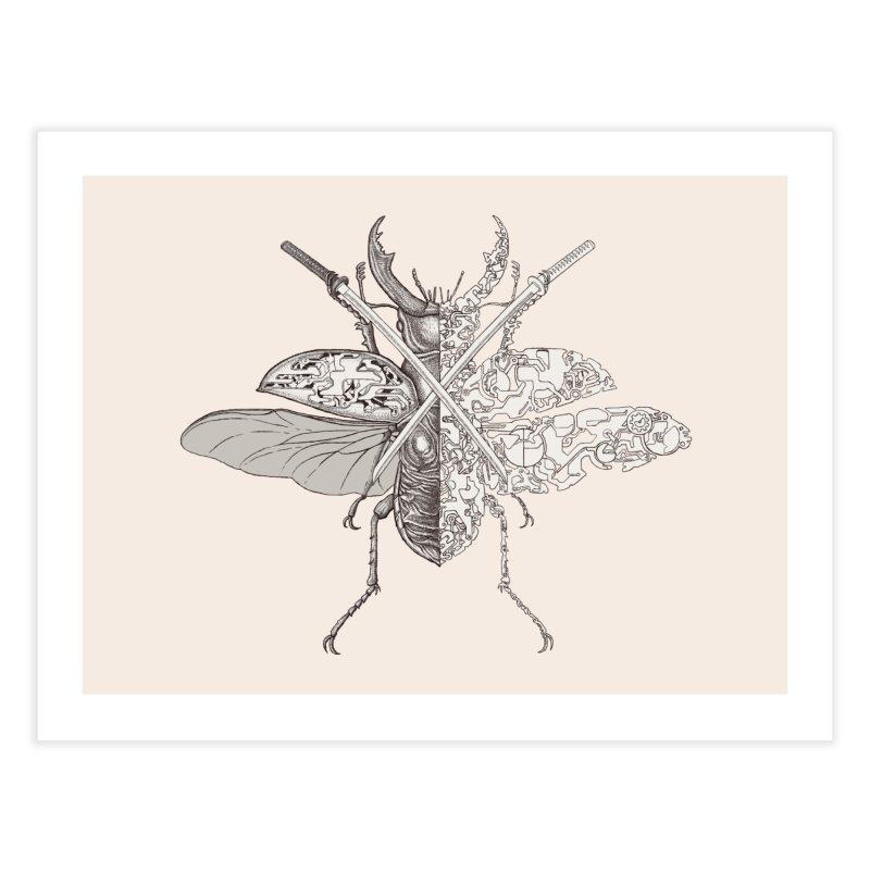stag beetle samurai Home Fine Art Print by makapa's Artist Shop