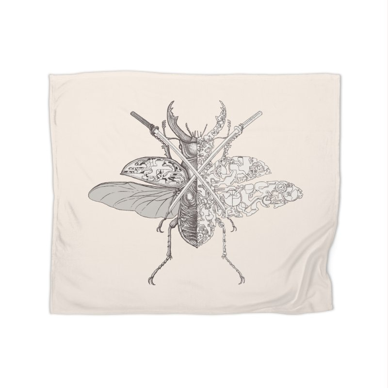 stag beetle samurai Home Blanket by makapa's Artist Shop