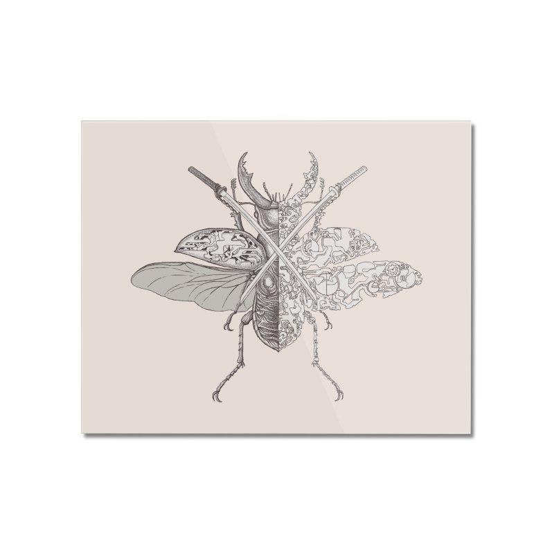 stag beetle samurai Home Mounted Acrylic Print by makapa's Artist Shop