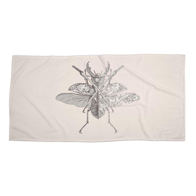 stag beetle samurai Accessories Beach Towel by makapa's Artist Shop