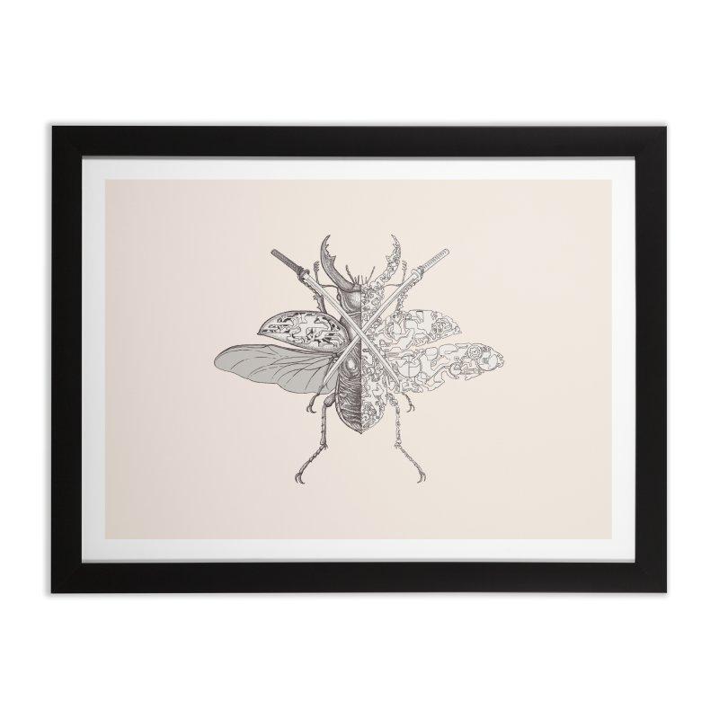 stag beetle samurai Home Framed Fine Art Print by makapa's Artist Shop