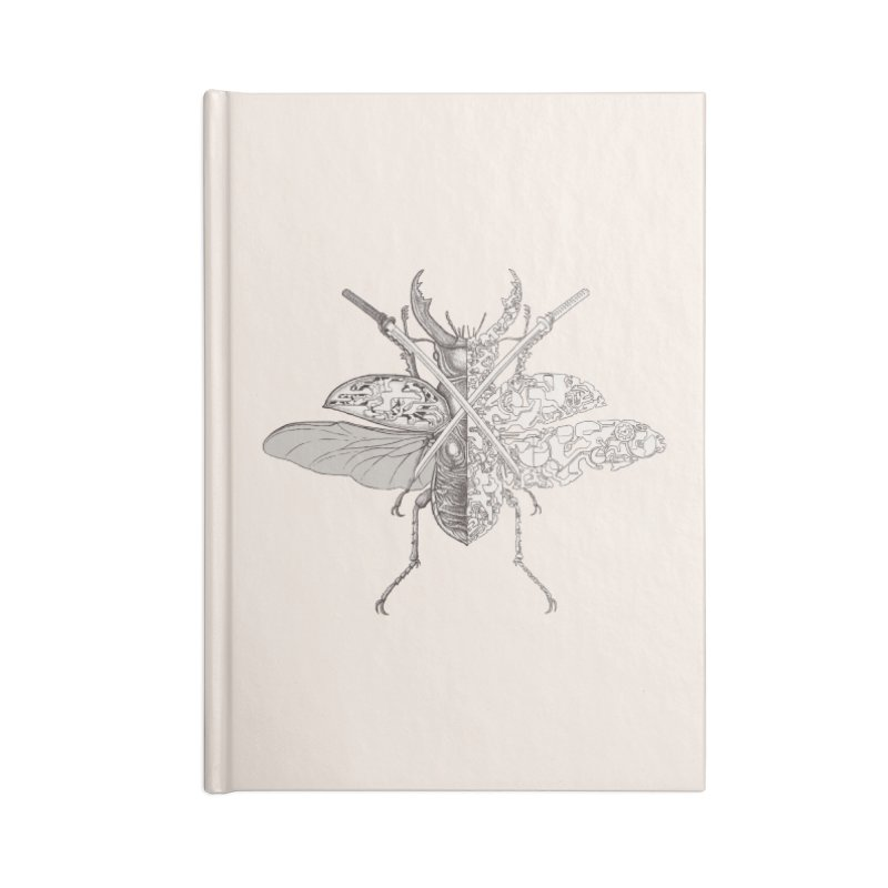 stag beetle samurai Accessories Lined Journal Notebook by makapa's Artist Shop