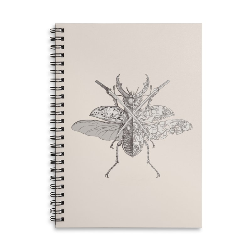 stag beetle samurai Accessories Lined Spiral Notebook by makapa's Artist Shop