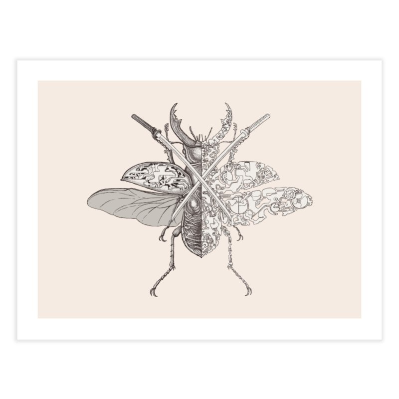 stag beetle samurai Home Fine Art Print by makapa's Artist Shop