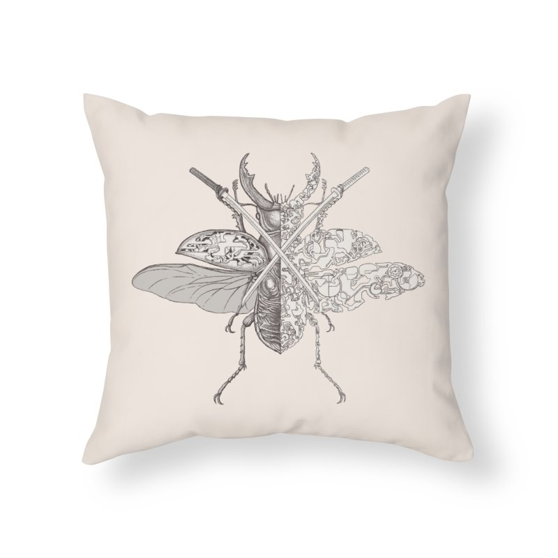 stag beetle samurai Home Throw Pillow by makapa's Artist Shop