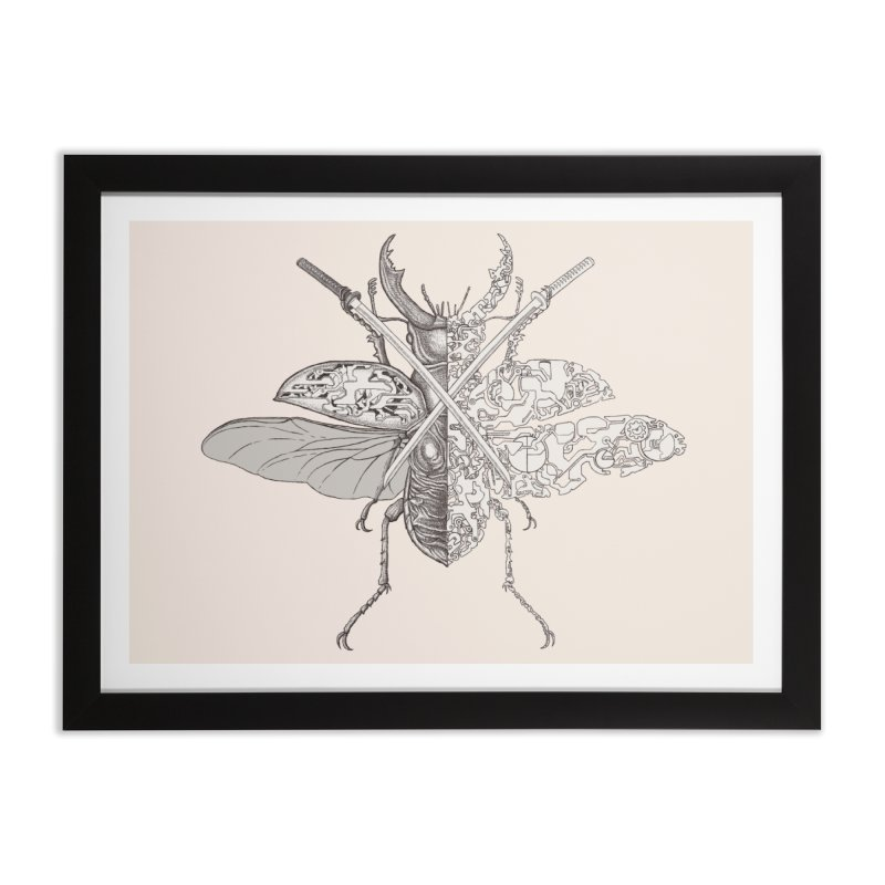 stag beetle samurai Home Framed Fine Art Print by makapa's Artist Shop