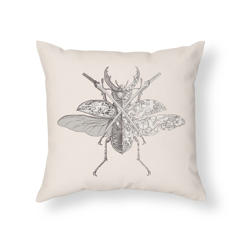 stag beetle samurai Home Throw Pillow by makapa's Artist Shop