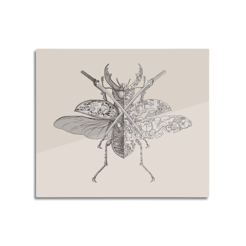 stag beetle samurai Home Mounted Aluminum Print by makapa's Artist Shop