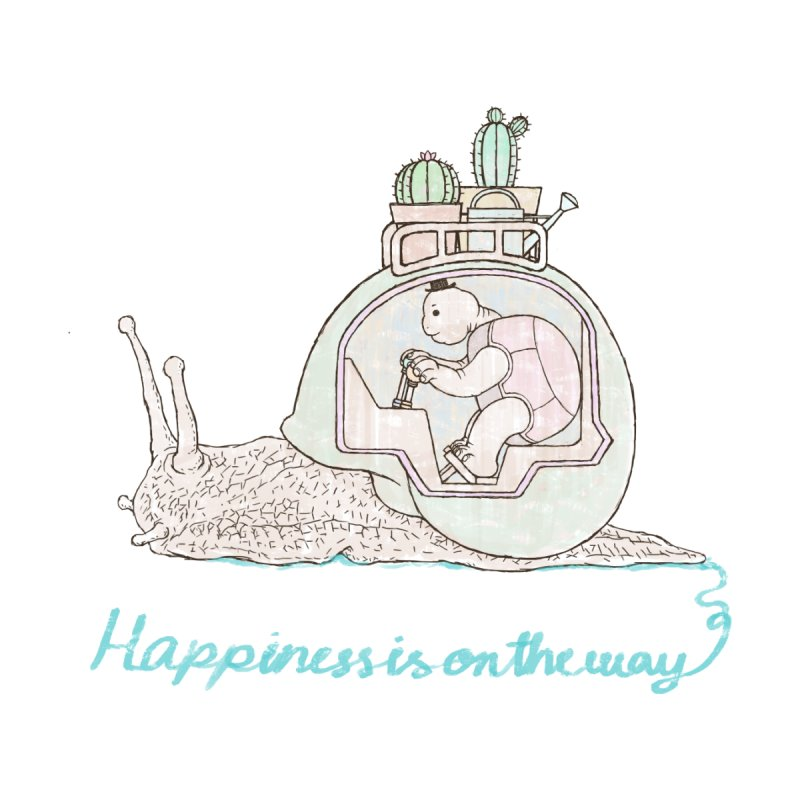 happiness is on the way Women's Scoop Neck by makapa's Artist Shop