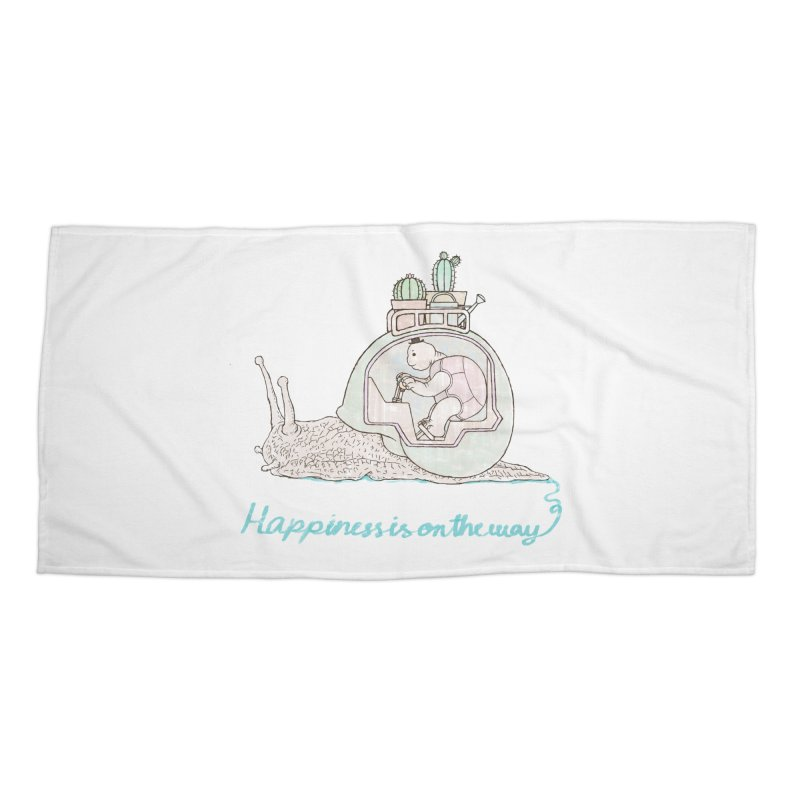 happiness is on the way Accessories Beach Towel by makapa's Artist Shop