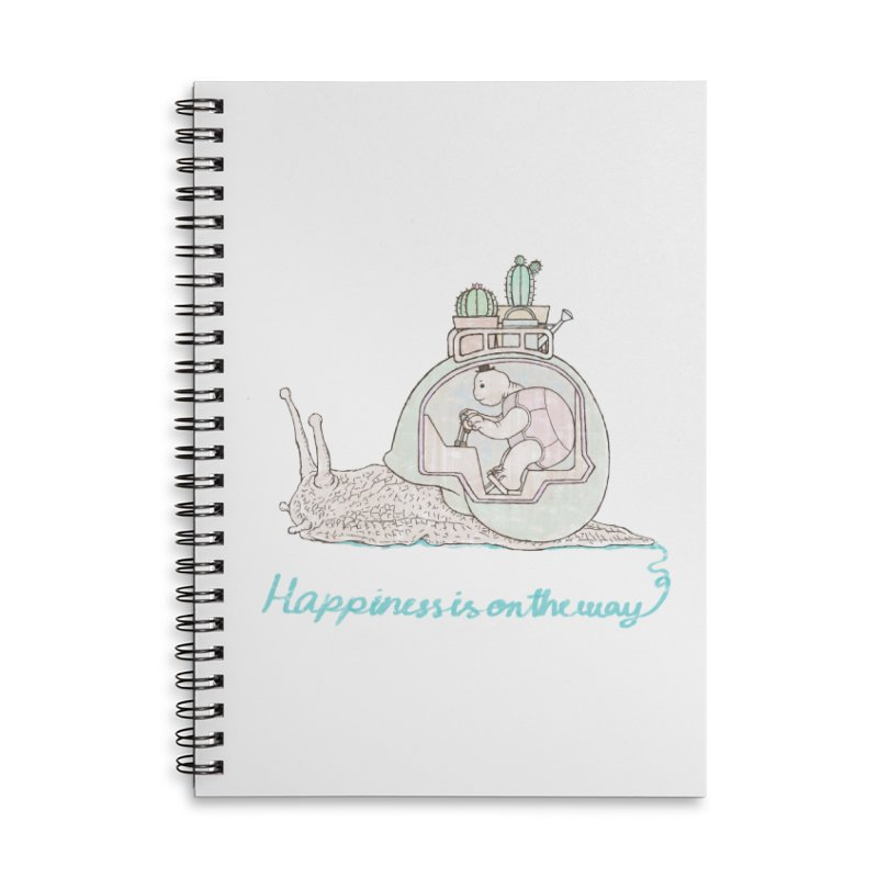happiness is on the way Accessories Lined Spiral Notebook by makapa's Artist Shop
