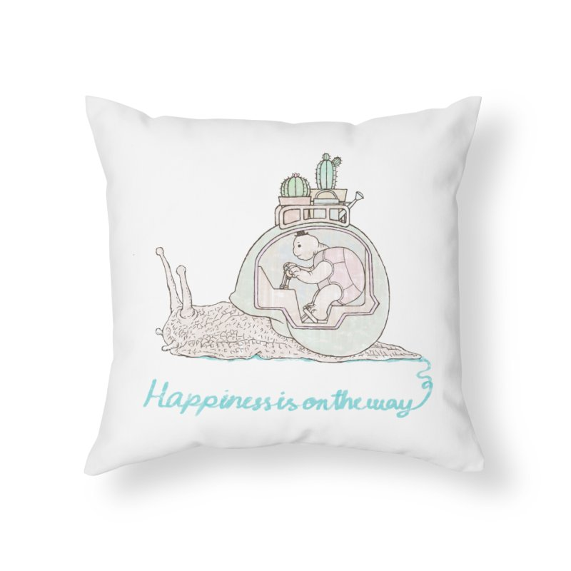 happiness is on the way Home Throw Pillow by makapa's Artist Shop