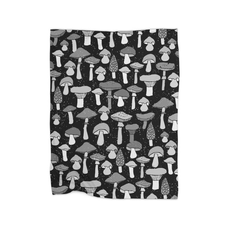 Magic mushrooms-black Home Blanket by makart's Artist Shop
