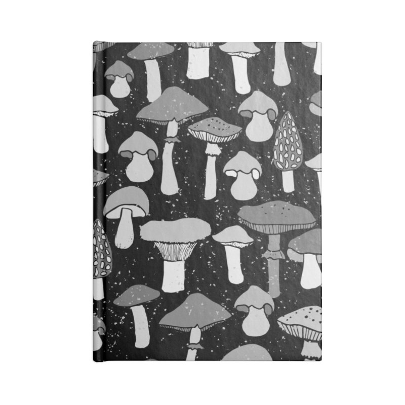 Magic mushrooms-black Accessories Notebook by makart's Artist Shop
