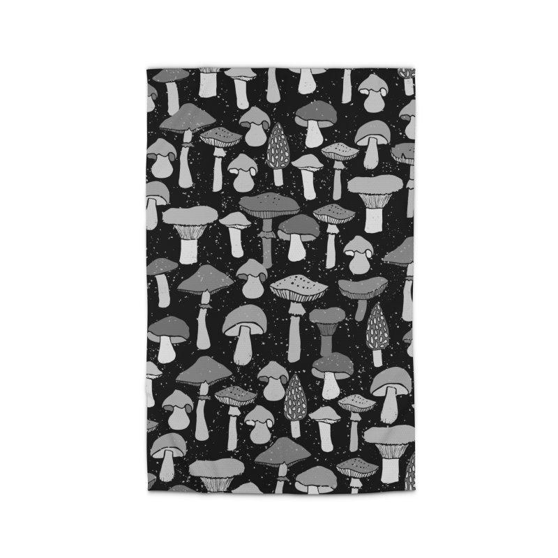 Magic mushrooms-black Home Rug by makart's Artist Shop