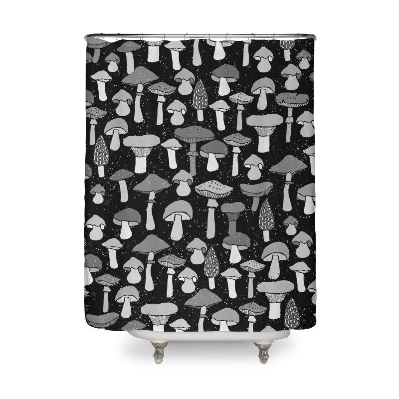 Magic mushrooms-black Home Shower Curtain by makart's Artist Shop