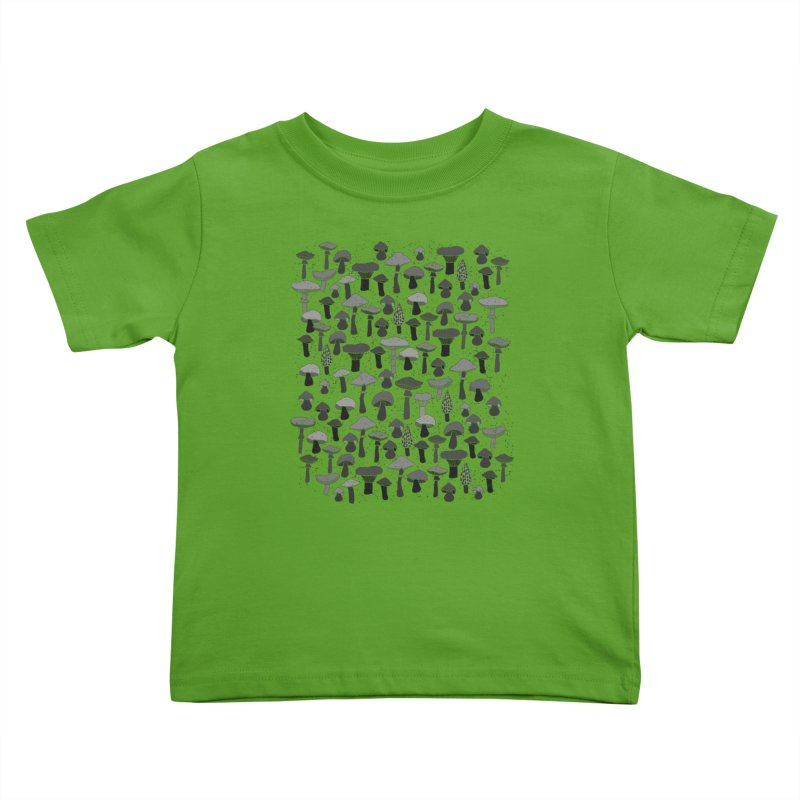 Magic mushrooms-black Kids Toddler T-Shirt by makart's Artist Shop