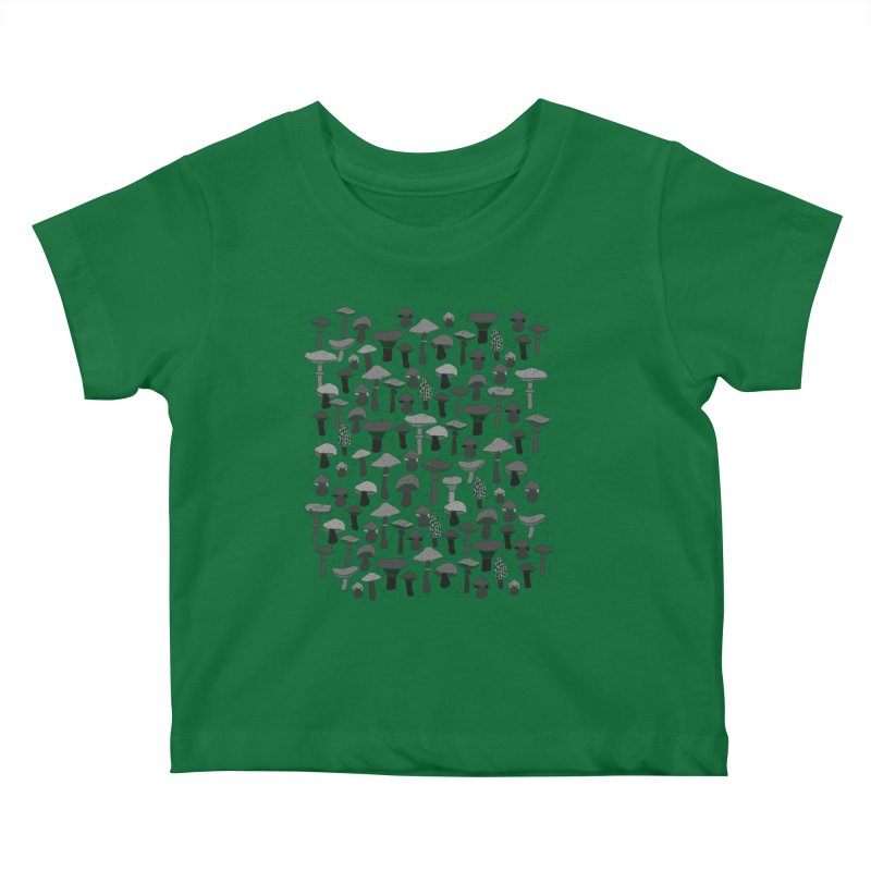 Magic mushrooms-black Kids Baby T-Shirt by makart's Artist Shop