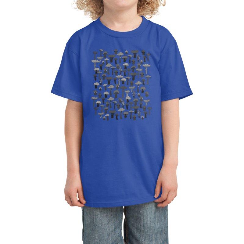 Magic mushrooms-black Kids T-Shirt by makart's Artist Shop