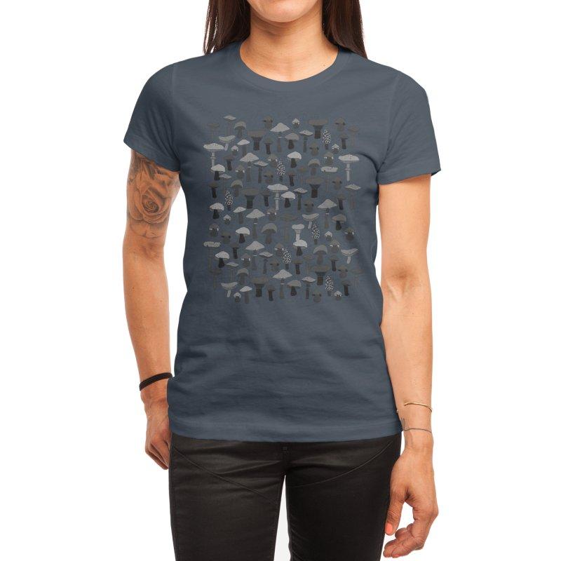 Magic mushrooms-black Women's T-Shirt by makart's Artist Shop