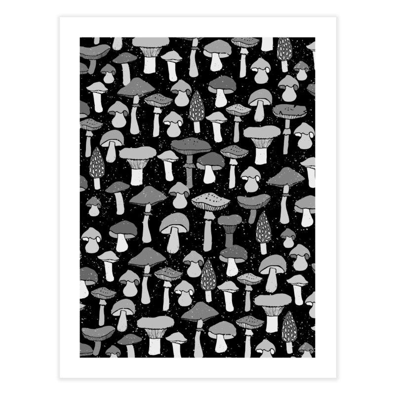 Magic mushrooms-black Home Fine Art Print by makart's Artist Shop