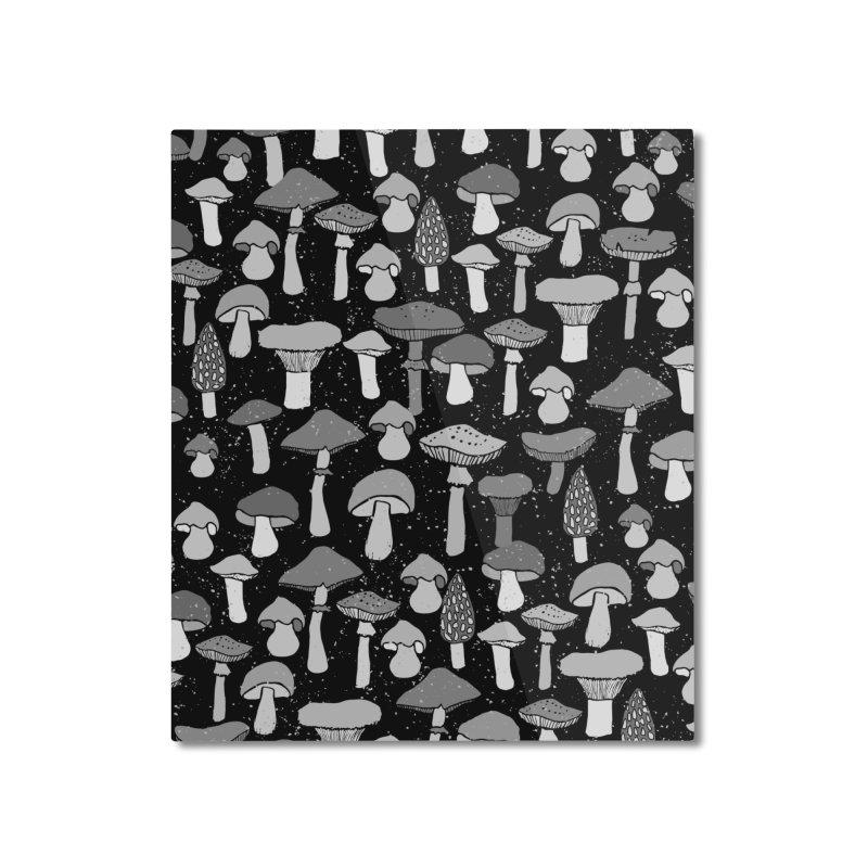 Magic mushrooms-black Home Mounted Aluminum Print by makart's Artist Shop