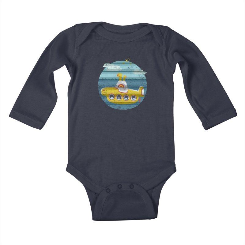 Yellow Submarine Kids Baby Longsleeve Bodysuit by makart's Artist Shop