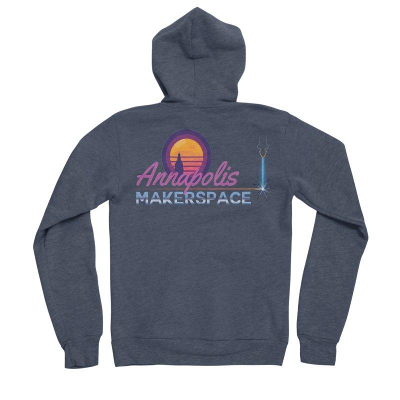 Retro Laser Men's Sponge Fleece Zip-Up Hoody by Annapolis Makerspace's Shop