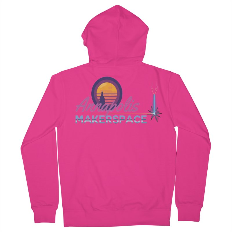 Retro Laser Men's French Terry Zip-Up Hoody by Annapolis Makerspace's Shop