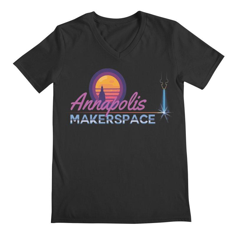 Retro Laser Men's Regular V-Neck by Annapolis Makerspace's Shop