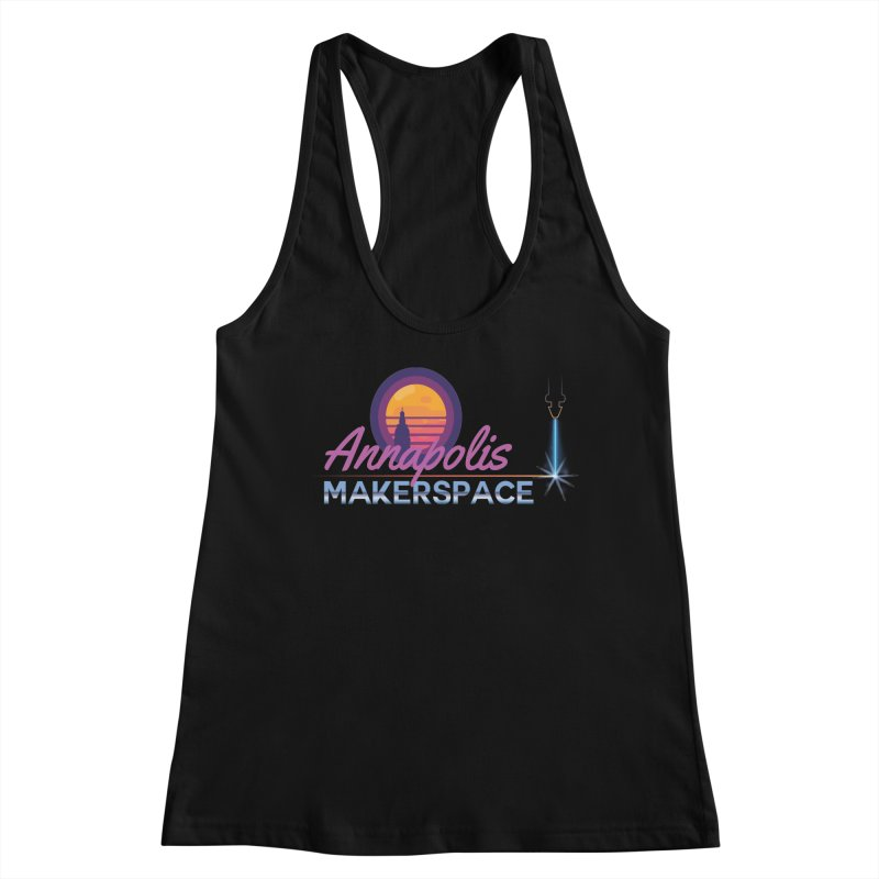 Retro Laser Women's Racerback Tank by Annapolis Makerspace's Shop