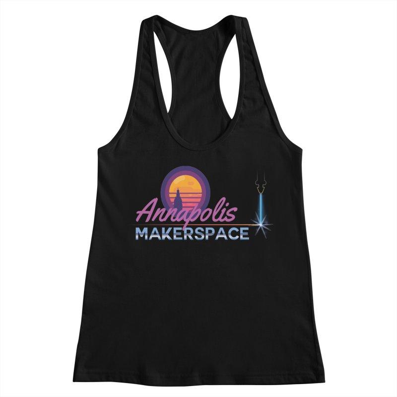 Retro Laser Women's Racerback Tank by Annapolis Makerspace's Shop