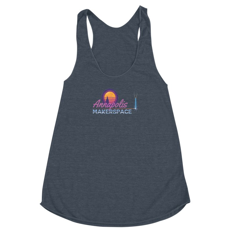 Retro Laser Women's Racerback Triblend Tank by Annapolis Makerspace's Shop