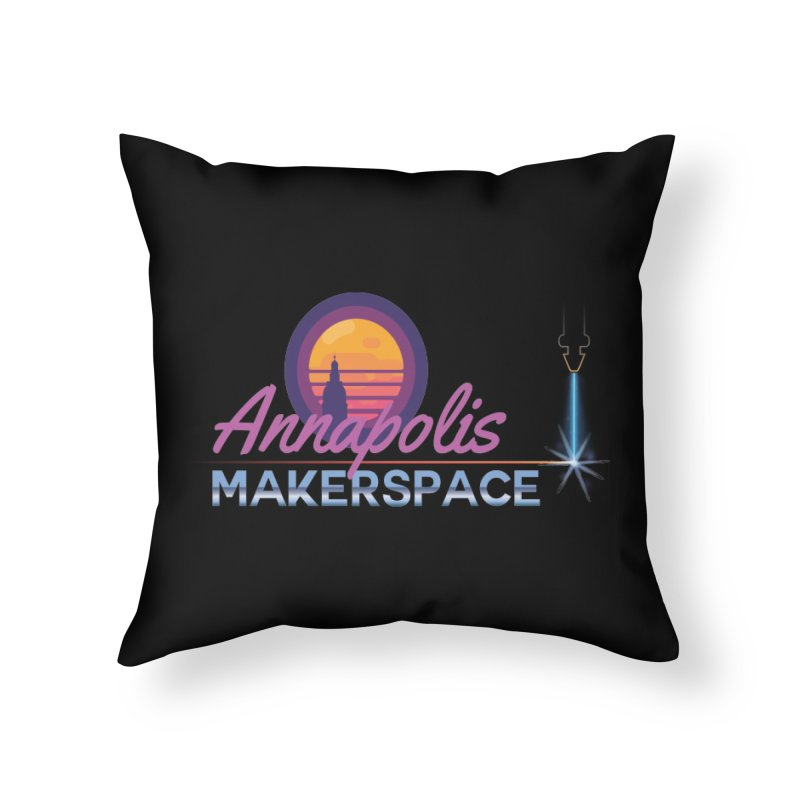 Retro Laser Home Throw Pillow by Annapolis Makerspace's Shop